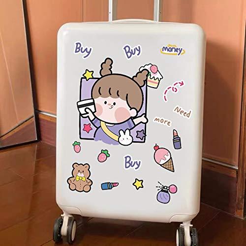 Dibujos animados lindo niña pegatina grande toda la maleta maleta maleta maleta maleta maleta maleta maleta caja de equipaje impermeable etiqueta engomada ins16 PCS