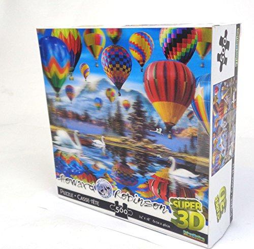Howard Robinson Puzzle-Karte, Motiv Heißluftballons, 3D-Puzzle-Karte, Hologramm-Optik, Mehrfarbig