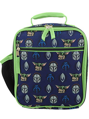 Star Wars Mandalorian Baby Yoda Boy's Girl's Adult Soft Insulated School Lunch Box (One Size, Blue/Green)