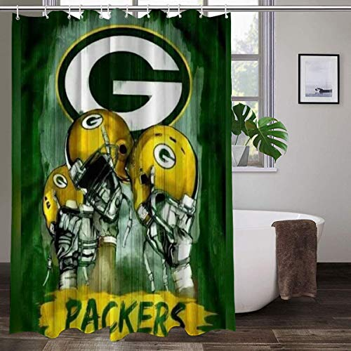 LAYENJOY Green Bay P-a-c-k-ers (12) Football Waterproof Curtain Bathroom Partition Shower Curtain Hooks Suitable for Shower Room Bedroom Bathtub(72x80 in)