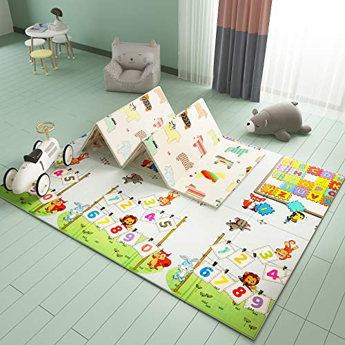 Extra Large Baby Play Mat Foldable Reversible Non Toxic Foam Crawl Playmat Waterproof Kids Baby Toddler Outdoor or Indoor Use (70.8x78x0.4in) (Educational ABC + Little Horse)