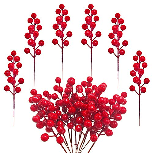 Hamiggaa Red Berry Stems,Artificial Red Holly Berries Picks Branch for Christmas Tree,DIY Wreath,Home,Wedding and Party Decor,24 Pcs 7.9 inches
