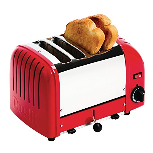 Dualit GD394 Vario Toaster, 4 Slice, 120 Slices/hr, 2.2kW, 200 mm H x 280 mm W x 310 mm D, Red