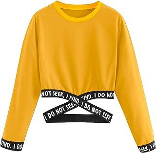 09e026e0d22833 Bauchfreier Pulli Mädchen, Damen Bauchfrei Pullover Brief Drucken Casual  Langarm Sweatshirt Kurz Sport Crop Tops