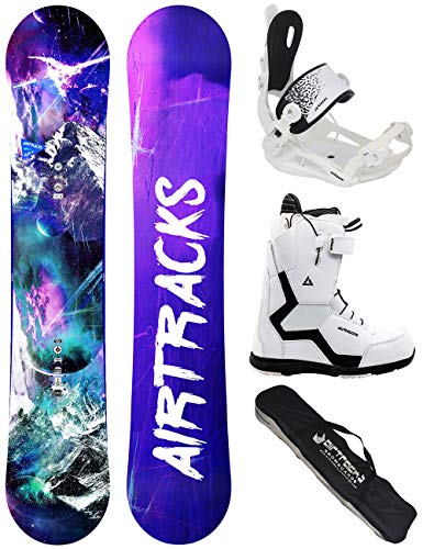 Airtracks Damen Snowboard Set/High M Carbon Rocker 140 + Snowboard Bindung Master + Snowboardboots Strong W QL 37 + Sb Bag