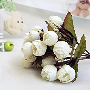 Fenfangxilas Artificial Rosebud, 15 Flowers on 1 Piece, Sweet Artificial Cloth Rose Bouquet for Home Restaurant Wedding White