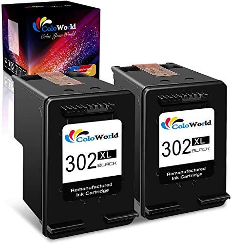 ColoWorld Remanufacturado 302 302XL Remanufacturado Cartuchos de Tinta 302 XL Negro 2 Packs Compatible con HP OfficeJet 3830 3833 4650 5220 5230 DeskJet 1110 2130 3630 3639 Envy 4520 4527 Impresoras