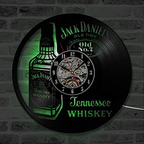 Bottiglia di whisky birra orologio da parete design moderno retro orologio in vinile orologio a LED illuminato orologio da parete decorazione della casa birra