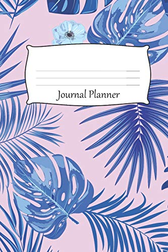 Journal Planner: 6x9 inches Paperback Bullet Style Notebook Organizer - 110 Cream Pages with Dot Grid - Blue Tropical Theme Against a Light Pink Background