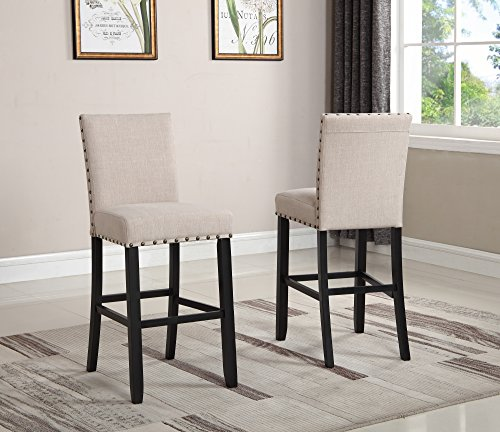 Roundhill Furniture Biony Fabric Bar Stools with Nailhead Trim (Set of 2), Tan