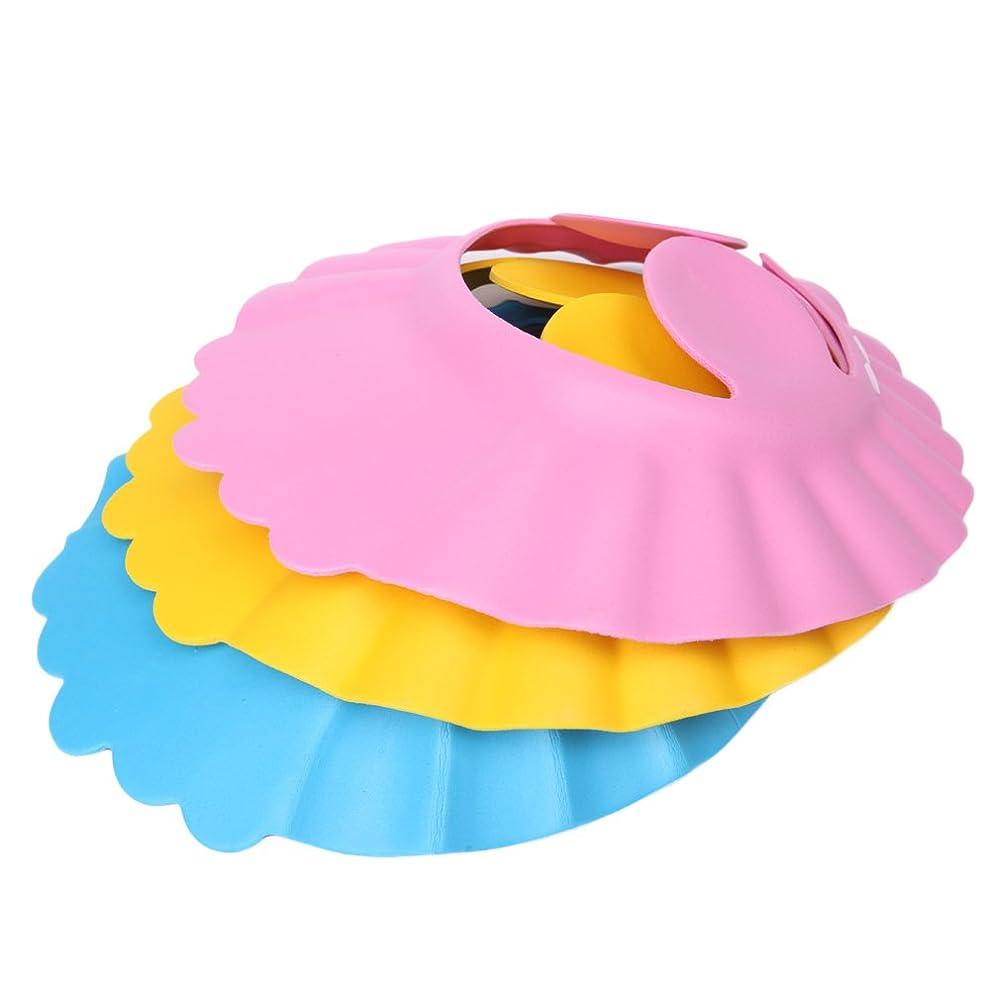 爆弾やがて冒険家SimpleLifeベビーキッズシャワーキャップ、調整可能1ピース×シャンプーシールドシャワー入浴保護ソフトキャップハット(ランダムカラー)