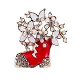 Deniferymakeup - Broche de Navidad para Mujer, niña, diseño de Flores Blancas con Motivos de Nieve, Adornos para Zapatos de Navidad, Accesorios de Papá Noel, Color Dorado