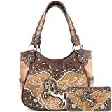 Zelris Western Rearing Horse Embroidered PU Leather Concealed Carry Women Tote Purse with Matching Wallet Set (Tan)