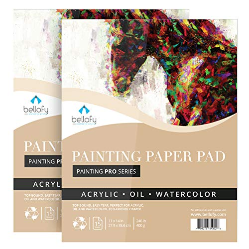 Bellofy 2 x Large Painting Paper Pads |11x14 inch | 246lb 400GSM |15 Sheets/Pad for Wet Media Acrylic, Oil & Watercolor | Top Glue Bound Art Pad | Art Supplies for Beginners, Artists & Professionals