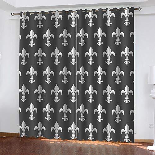 WLHRJ Cortina Opaca en Cocina el Salon dormitorios habitación Infantil 3D Impresión Digital Ojales Cortinas termica - 160x115 cm - Patrón Blanco y Negro