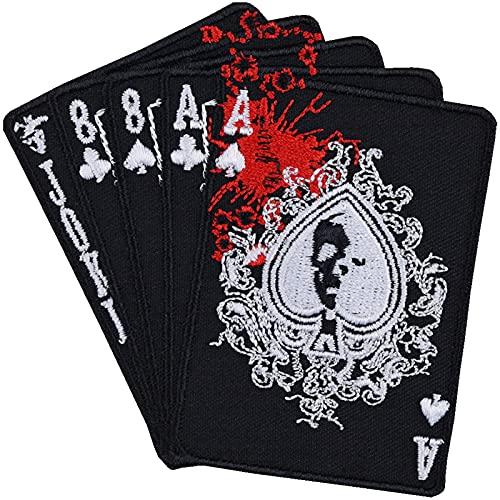 Poker Karten Aufnäher Full House Aufbügler Biker Patch Rocker Bügelbilder Heavy Metal Sticker Joker Geschenk Motorrad-Fahrer DIY Applikation für Jacke/Weste/Jeans/Motorradkoffer 85x85mm