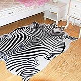 Teppiche Matten Teppiche Zebra Kuhfell Teppich Die gesamte Nordic American Tier schwarz und weiß Teppich Wohnzimmer Schlafzimmer Bett kleine kreisförmige dünne Bodenmatte ( Size : 200cm(78.7 inches) ) - 2