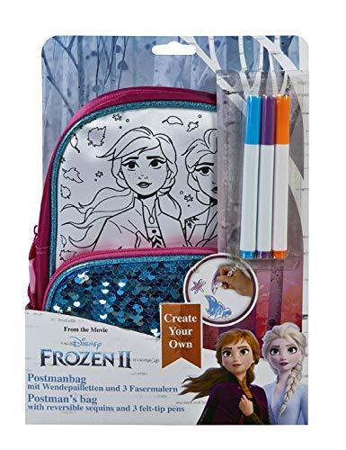 Undercover FRUW2390 Create Your Own-Postmanbag zum Bemalen, Disney Frozen II, inklusive 3 Fasermalern, ca. 27 x 20,5 x 8 cm
