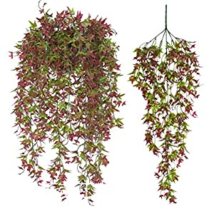 2 Pcs Artificial Vines Ivy Leaf Plants Vine Hanging Garland Fake Foliage Flowers for Party Outdoor Greenery Wedding Wall Decorations Supplies (Red-30.7″)