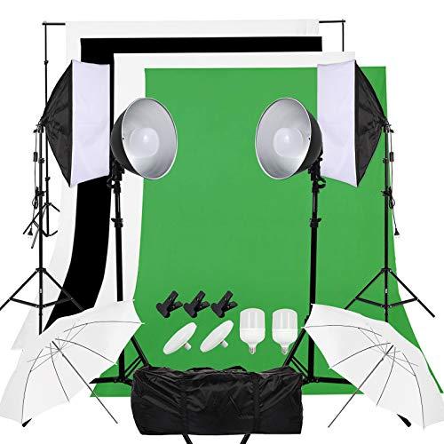 OUBO Fotostudio 50x70cm Softbox Set mit E27 Lampleschirm und 84cm Fotoschirm, Dauerlicht LED-Leuchte, 2x3m Hintergrundsystem, 4 Hintergrundstoff, Greenscreen