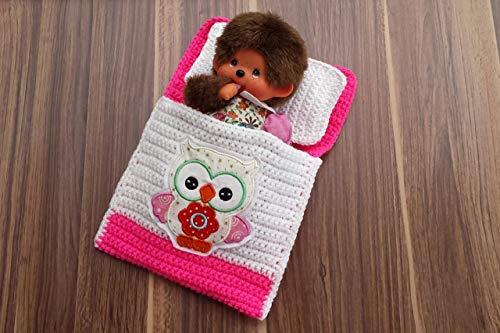 Puppenbettchen - Schlafsack für Monchichi 20 cm Kleine Eule Nr. 22