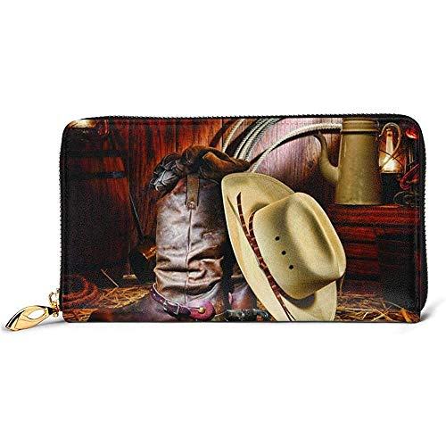 Zip Wallet,Cowboy Black Hat Western Boots Monedero De Cuero Genuino, Monederos Prácticos para Viajes De Negocios De Fiesta,10.5(W) x19(L) x2.5(T) cm