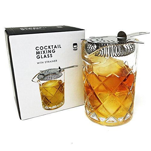 Rippl Cocktail Mixing Glass - 2pc Cocktail Set - 400ml Mixing Glass with Cocktail Strainer