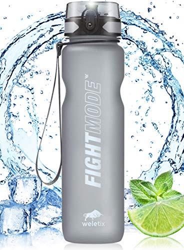 weletix Trinkflasche 1L | Sportflasche für Camping, Wandern, Fitness, Laufen, Klettern | auslaufsichere Wasserflasche | Tritan BPA-frei