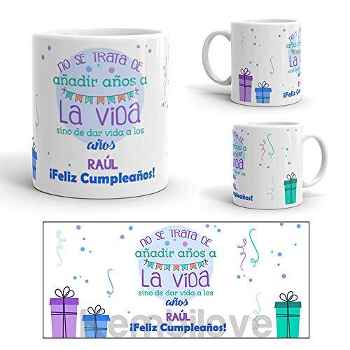 Kembilove Taza de Café Cumpleaños – Taza de Desayuno con Frase Personalizada Cumpleaños – Taza de Café y Té para Amigos – Taza de Cerámica Impresa – Tazas de de 350 ml Amigos