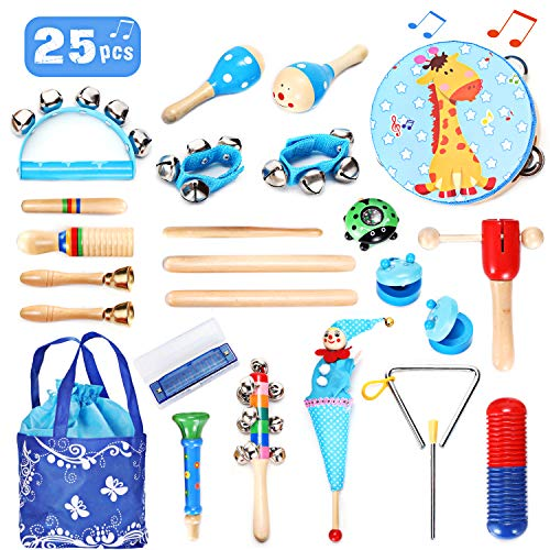 EPCHOO Musical Instruments, 25PCS Kids Baby Musical Instruments Set Wooden Education Percussion Toys,Early Learning Musical Toys Gift for Babies Toddlers with Storage Bag, Blue