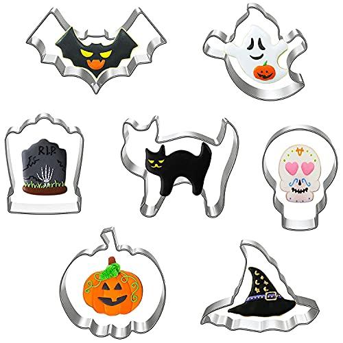 7pcs Halloween Moldes de Galletas Moldes Galletas Acero Inoxidable para Pastel, Cookie, Fondant, Formas Halloween Variadas Fiesta Navidad Galletas (B)