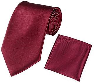 Men Satin Slim Skinny 2'' (5cm) Necktie Pocket Square Set (Dark Red)
