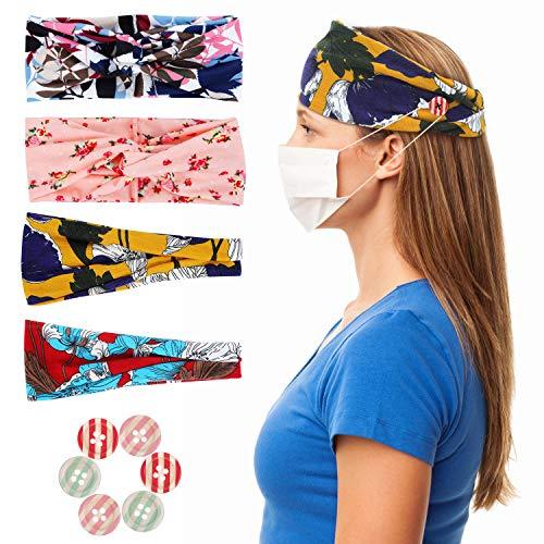 MAQUITA 4 Stück Stirnbänder für Frauen Boho Criss Cross Haarbänder Yoga Workout Button Stirnbänder Tropical Flower Turban Stirnband Mode Haarschmuck