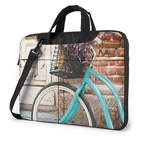 Laptoptas computer tas mouwen case cover fiets fiets met bloemen zakenreis tablet schouder handtas 15,6 inch
