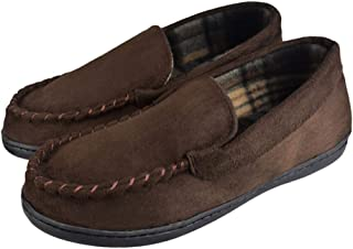 Tirzrro Men's Pile Lined Microsuede Slippers with Memory Foam Indoor Outdoor Slip-on Moccasins