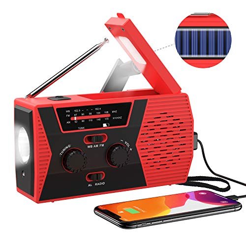 2019 Upgraded Version Emergency Solar Hand Crank Radio, Portable AM/FM NOAA Weather Radio for Outdoor Household Emergency Device, LED Flashlight, Reading Lamp, 2000mAh Power Bank USB Charger SOS Alarm