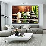 Pintura al óleo sin Marco Embellecer Piedras Zen Velas de bambú Grandes Cuadros de Arte de Pared para Sala de Estar Decoración Moderna para el hogar Impresión de Alta definición 40x60cm