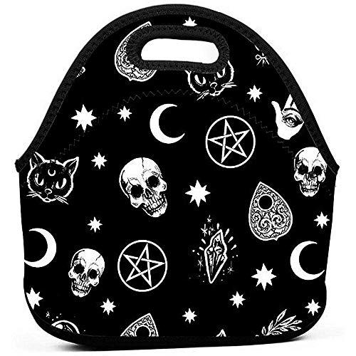 Borsa pranzo isolata Skull Cat Moon Modello gotico Borsa pranzo Bento nera Borsa termica per pranzo con borsa per il trasporto portatile