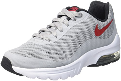 Nike Air Max Invigor GS, Scarpe da Ginnastica Bambino, Grigio (Wolf Grey/Varsity Red/Black/White), 36 EU