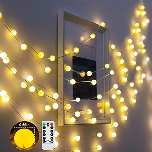 KAiSnova 19.7FT 60LEDs Globe Ball String Lights Waterproof Hanging Fairy Lights USB Operated with Remote 8 Modes for Bedroom Dorm Wedding Birthday Christmas Party Indoor Outdoor Decoration Warm White