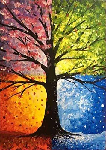 CKVVROOM 30X30Cm, 5D DIY Diamant Malerei Der Baum Mit Vier Jahreszeiten Baumstickerei Diamant Kreuzstich Voll Kreisrunde Strass Mosaik Homedecor