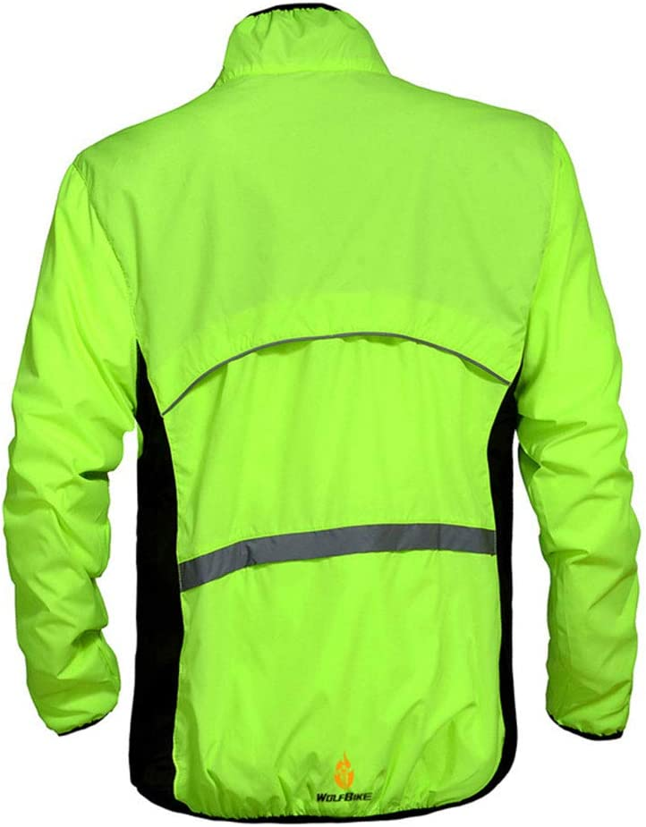 GUARDUU Cycling Jacket Breathable Windproof Windbreaker Lightweight Long Sleeved Cycling Jersey with Pocket And Reflective Element for Fishing Motorcycle Riding Biking,A,S
