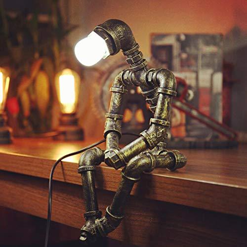 Roboter Steampunk Vintage Tischlampe, Retro Industrie Eisen Wasserrohr Tischleuchte für Nachttisch (Ohne Glühbirne) [Energieklasse A++]