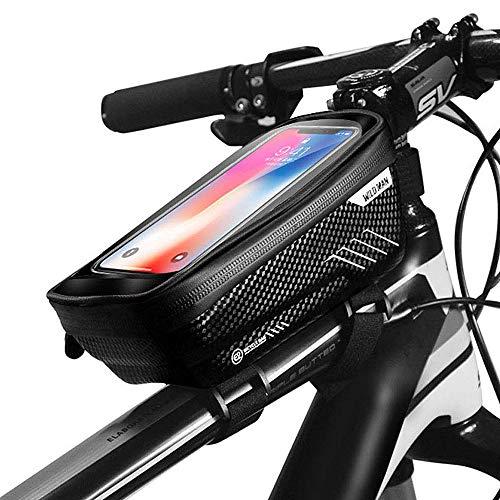 CETECK Fahrrad Rahmentasche, wasserdichte Fahrradhalterung Lenkertasche Fahrradrahmentasche mit Touchscreen-Oberrohrtaschen für iPhone 8 Plus/X/XS Max/XR/Samsung S8 / S9 Plus (Schwarz)