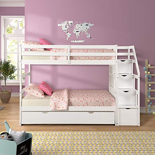 ALI VIRGO Solid Wood, Hardwood Twin Over Two Bunk Bed Frame with Staircase and 4 Storage Drawers, Natural Finish, White