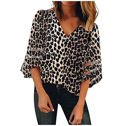 WGNNAA Damen Sommer Blusen Casual Shirts Lose Top V-Ausschnit T-Shirt Leopard Blumendruck Farbverlauf Tunika Tops mit 3/4 Trompete Ärmel Mesh Patchwork Oberteile 8 Farben