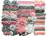 Bowtique Emilee Baby Shower Headband Kit DIY Headband Kit makes 30 Headbands - Pink and Grey