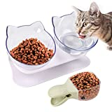 Legendog Futternäpfe Katzenfutter, Kreative rutschfeste Basis Doppelschüssel Hundenapf Katzennapf für Futter WasserPet Bowl Set Anti Skid Tilting Neck Protective Pet Food Bowl with Food Scoop