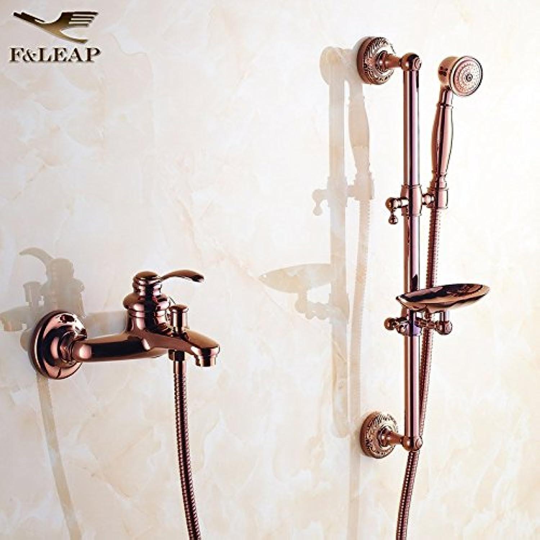Gyps Faucet Waschtisch-Einhebelmischer Waschtischarmatur BadarmaturVerGoldete Dusche Kit Antike Einzelne Kalte und Warme Badewanne Wasserhahn an der Wand montiert Einfache Dusche C Griff,Mischbatte