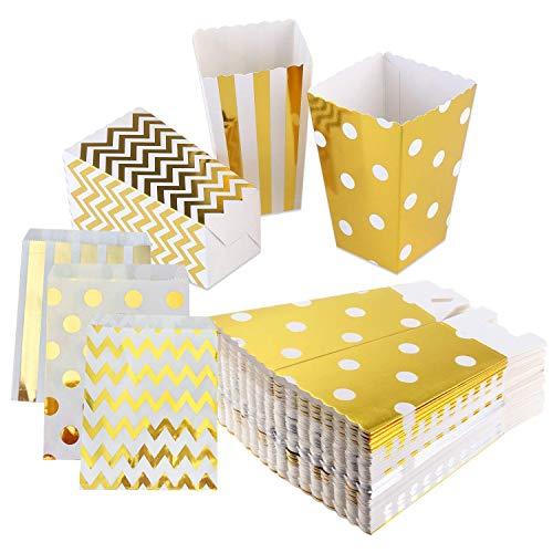 Globaldream Cajas de palomitas de maíz y bolsas de golosinas, 36 piezas de palomitas de maíz de papel y 12 piezas de bolsas de golosinas para fiestas, lunares dorados, rayas, diseños de confeti